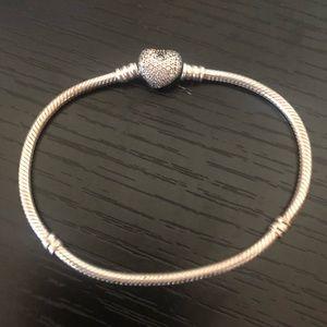 Pandora Moments Sparkling Heart & Snake Bracelet